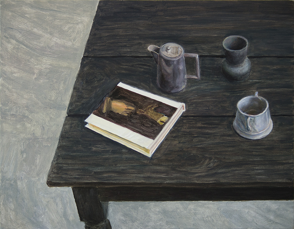 Velasquez book and three objects on table; 2014; 350 X 450 mm