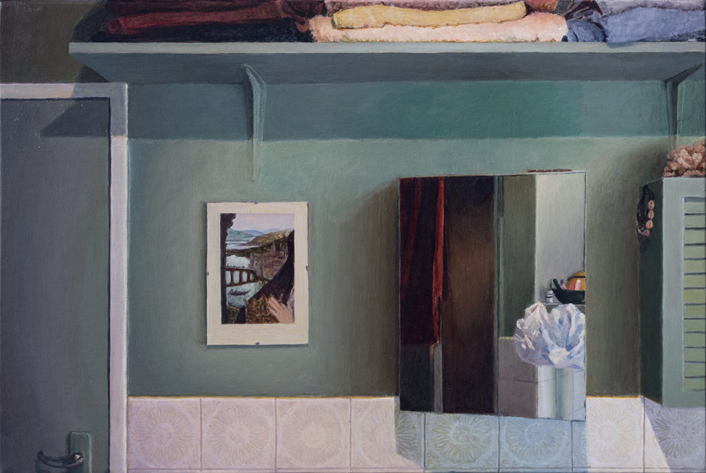 Durban bathroom with reflection in mirror; 2016; 300 X 450 mm