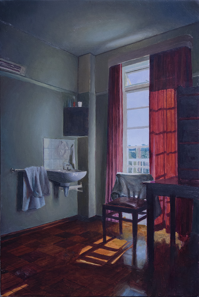 Grahamstown residence room, open curtains; 2016; 398 X 267 mm