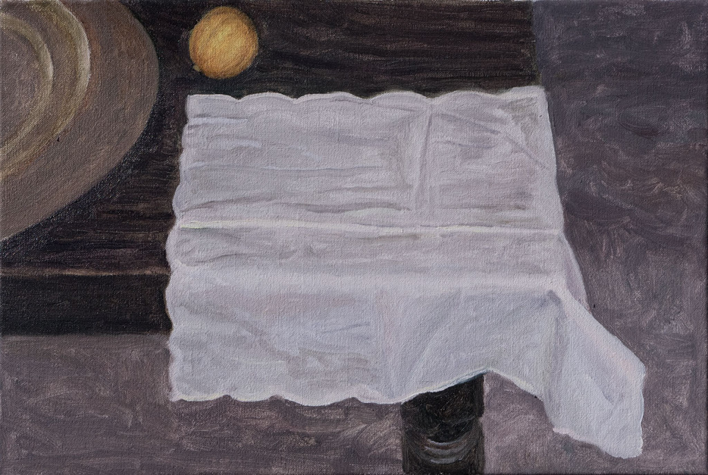 Linen napkin, lemon and brass tray on table; 2015; 260 X 390 mm